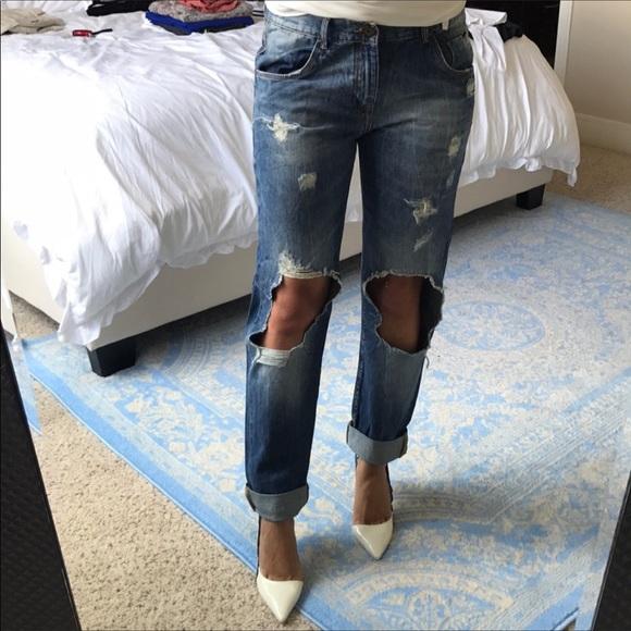 Zara Denim - Zara trafaluc boyfriend ripped high waist jeans